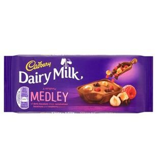 Шоколад Cadbury Dairy Milk Medley Fruit Raspberry, 93гр