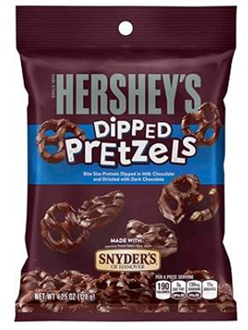 Hershey's Milk Chocolate Dipped Pretzels Peg Bag Хрустящие печеньки 120гр