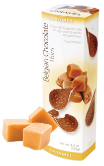 Шоколадные чипсы Belgian Milk Chocolate Thins-Caramel 80гр