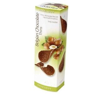 Шоколадные чипсы Belgian Milk Chocolate Thins-Hazelnut 80гр